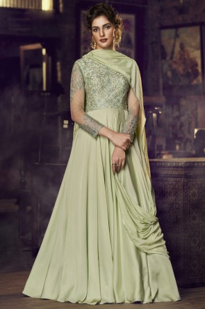 Satin Designer Pista Embroidered Gown