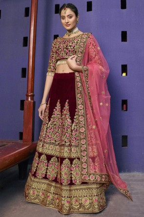 Delightful Red Embroidered And Thread Work Velvet Fabric Lehenga Choli With Net Dupatta