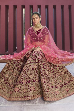 Red Embroidered And Thread Work Velvet Fabric Lehenga Choli With Net Dupatta