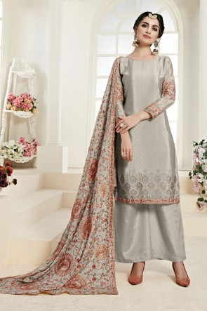 Party Wear Silver Chinon Embroidered Plazzo Suit With Santoon Dupatta