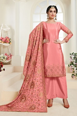 Embroidered Pink Chinon Fabric Plazzo Suit With Santoon Dupatta