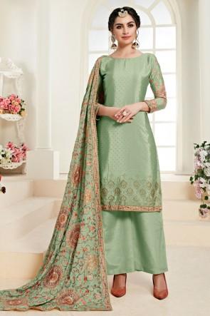 Beautiful Green Chinon Embroidered Designer Plazzo Suit With Santoon Dupatta