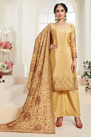 Golden Embroidered Chinon Fabric Plazzo Suit With Santoon Dupatta