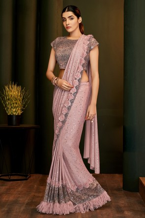 Flare Work And Lace Work Pink Lycra Fabric Flare Saree And Blouse