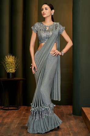 Grey Lycra Fabric Flare Work And Lace Work Designer Flare Saree And Blouse