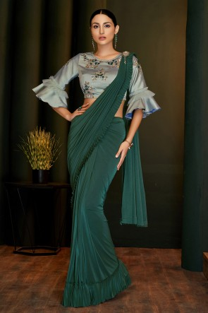 Stunning Teal Lycra Fabric Designer Hand Work And Embroidered Flare Saree And Blouse