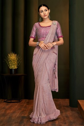 Sequins Work And Embroidered Pink Lycra Fabric Flare Saree And Blouse