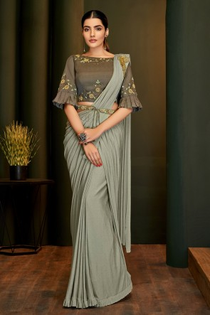 Hand Work And Embroidered Grey Lycra Fabric Flare Saree And Blouse