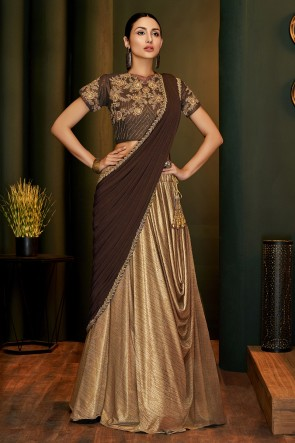 Golden Brown Lycra Fabric Embroidered And Lace Work Designer Flare Saree And Blouse