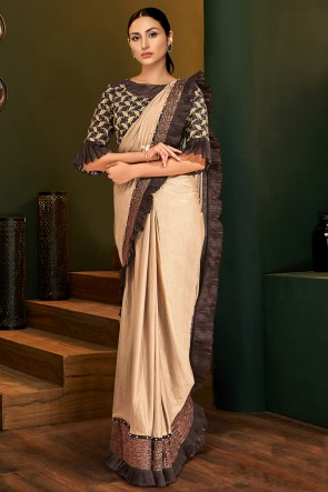 Stunning Brown Cream Lycra Fabric Designer Embroidered And Lace Work Flare Saree And Blouse