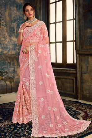 Lovely Pink Zari Work And Stone Work Net Silk Fabric Saree With Fancy Fabric Blouse