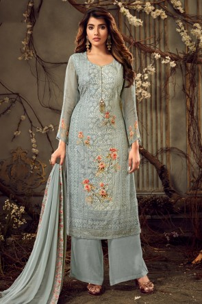 Sky Blue Viscose And Georgette Digital Print Plazzo Suit Whit Chiffon Dupatta