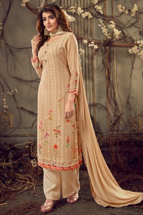 Peach Digital Print Viscose And Georgette Fabric Plazzo Suit Whit Chiffon Dupatta