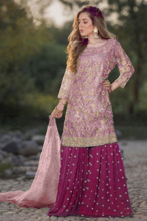 Embroidered Pink Net Fabric Plazzo Suit With Dupatta