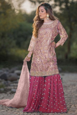 Net Designer Peach Embroidered Plazzo Suit With Dupatta