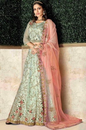 Supreme Pista Embroidred And Stone Work Tapeta And Silk Lehenga Choli And Dupatta
