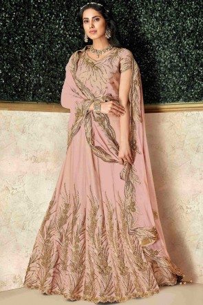 Designer Peach Tapeta And Silk Embroidred And Stone Work Lehenga Choli And Dupatta