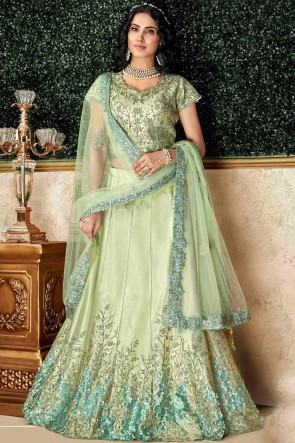 Excellent Green Embroidred And Stone Work Tapeta And Silk Lehenga Choli And Dupatta