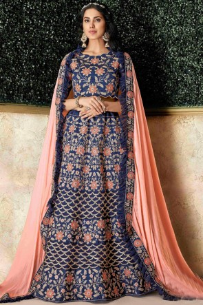 Desirable Blue Silk Embroidred And Stone Work Lehenga With Stone Work Blouse