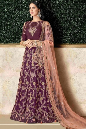 Classy Purple Silk Embroidred And Stone Work Lehenga Choli And Dupatta