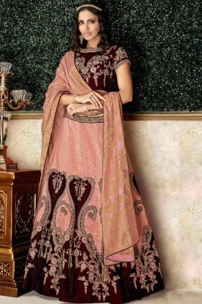 Ultimate Velvet Maroon Embroidred And Stone Work Lehenga Choli And Dupatta