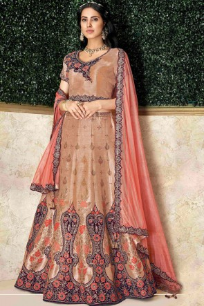 Stunning Brown Silk Fabric Embroidred And Stone Work Designer Lehenga Choli And Dupatta