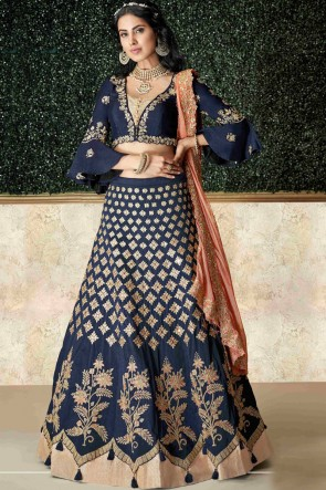 Fascinating Navy Blue Tapeta And Silk Embroidred And Stone Work Lehenga Choli And Dupatta