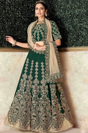 Graceful Green Embroidred And Stone Work Satin And Silk Lehenga With Stone Work Blouse