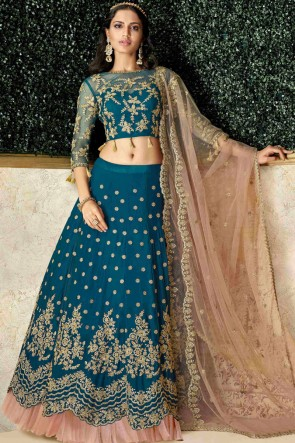 Dazzling Blue Satin And Silk Embroidred And Stone Work Lehenga Choli And Dupatta