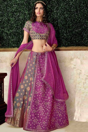 Delightful Silk Magenta Embroidred And Stone Work Lehenga Choli And Dupatta