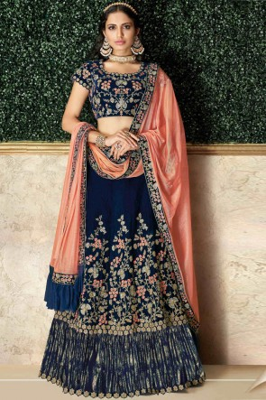Heavy Designer Blue Embroidred And Stone Work Velvet Lehenga Choli And Dupatta