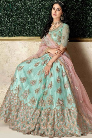 Appealing Sea Green Embroidred And Stone Work Tapeta And Silk Lehenga Choli And Dupatta