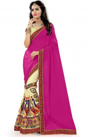 Classic Pink Georgette Printed Saree With Plain Blouse