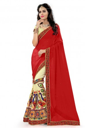 Red Georgette Printed Saree With Plain Blouse