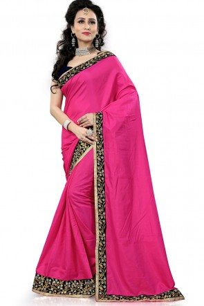 Ultimate Pink Silk Saree With Lace Work Blouse