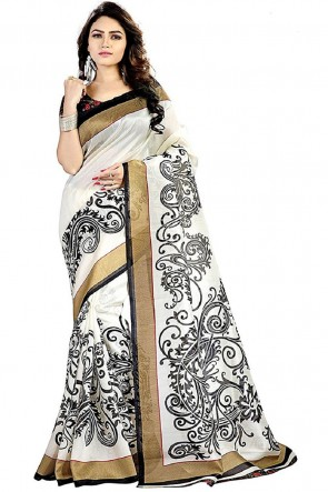 Ultimate White Bhagalpuri Printed Saree With Woven Work Blouse