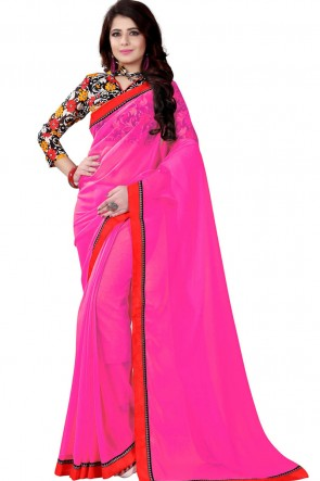 Classic Pink Georgette Lace Work Saree