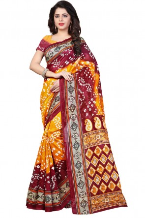 Pretty Yellow and Red Bhagalpuri Party Wear Printed Saree