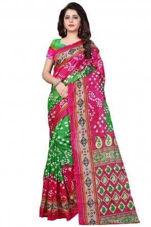 Excellent Pink and Green Bhagalpuri Party Wear Printed Saree