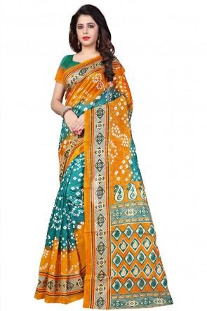 Charming Yellow Bhagalpuri Party Wear Printed Saree