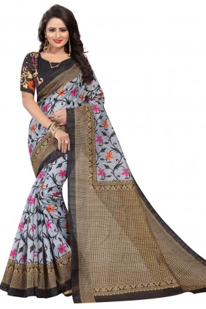 Classic Grey and Black Bhagalpuri Printed Saree