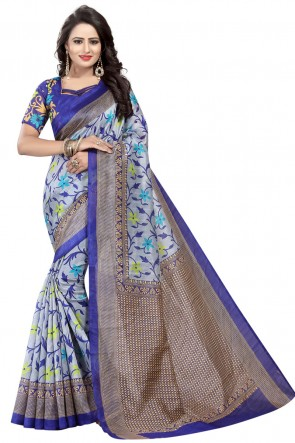 Stylish Grey and Blue Bhagalpuri Party Wear Printed Saree