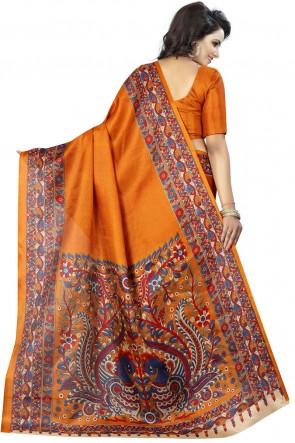 Admirable Orange Khadi Silk Party Wear Printed Saree