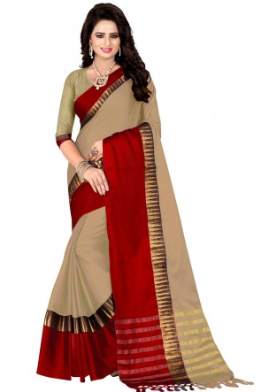 Beige and Red Pollycotton Party Wear Saree