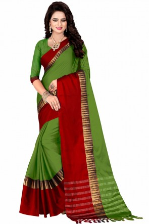 Gorgeous Green and Red Pollycotton Party Wear Saree