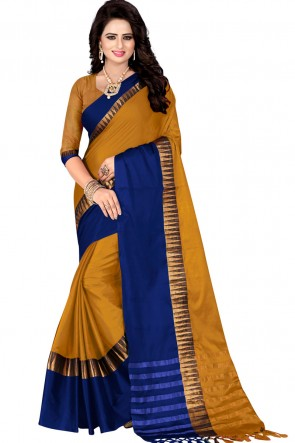Beautiful Blue and Mustard Pollycotton Party Wear Saree