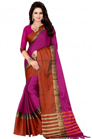 Charming Pink and Brown Pollycotton Saree