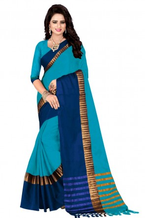 Supreme Blue and Sky Blue Pollycotton Party Wear Saree