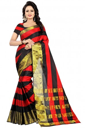 Classic Black and Red Pollycotton Party Wear Saree
