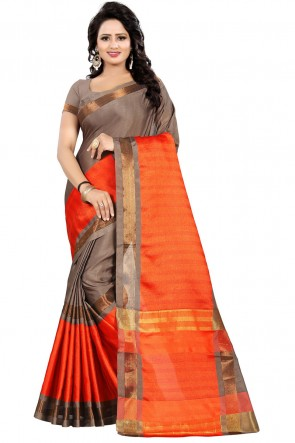 Beautiful Orange Pollycotton Party Wear Saree